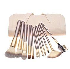 Tenn Well Kit de Pinceaux de Maquillage,12 Pièces de Maquiallages Professionnels Cosmétiques kit de Pinceaux de maquiallage avec étui Blanc