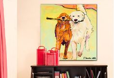 Favorite Artwork Under $50 I remember seeing the neighbors dogs running holding each end of a stick..and tried to run on each side of a tree..opps!