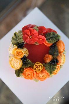 Wedding flowers by color / r e d 새해.에 올린 케익 강렬한 블랙아이싱에- 빨간 꽃들 새로시작하는 마음...