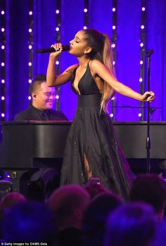 Pop superstar Ariana Grande performs onstage at the Annual Delete Blood Cancer DKMS Gala. (Photo by Kevin Mazur/Getty Images for DKMS Gala) Ariana Grande Outfits, Ariana Grande Fotos, Family Photo Outfits, Family Photos, Outfits Fo, Stage Outfits, Dangerous Woman, Creative Halloween Costumes, Queen