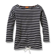 Nautical meets sporty--our #stripe tie hem #tee.