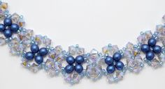 Deb Roberti's FREE Saturday Night Bracelet pattern done in Czech Color Metallic Suede Blue.