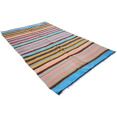 Turkish Flat-Weave Oushak - 4′11″ × 7′11″ ($697) ❤ liked on Polyvore featuring home, rugs, traditional handmade rugs, flat weave kilim rug, woven rug, flat weave area rugs, turkish kilim rugs and hand woven area rugs