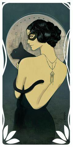 Gift Deco Comic - Catwoman Style Mucha Art Nouveau Geek Fanart Sensual Super Heroine by DC Comics Black Cat Mask Black Back Top Jewelry - Gift Deco Comic Catwoman Style Mucha Art Geek Art Deco Posters, Vintage Posters, Vintage Art, Art Deco Artwork, Art Deco Paintings, Art Nouveau Poster, Vintage Jewelry, Comic Kunst, Comic Art
