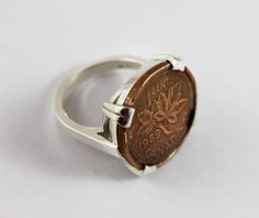 Lucky Canadian Maple Leaf Penny Coin Ring by coincoindesigns, $165.00 Cute Jewelry, Unique Jewelry, Pennies From Heaven, Canadian Maple Leaf, Coin Design, Lucky Penny, Penny Coin, Coin Ring, Chocolate Box