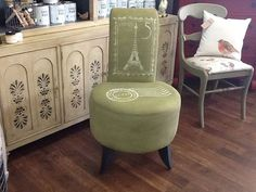 This Retro Chair was finished by stockist  Connie M. Brown of Simpler Times Designs in Parker, CO using Chalk Paint® decorative paint by Annie Sloan in Olive for the fabric, Graphite for the legs and Cream for the stenciling!