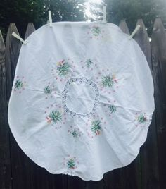 Vintage Christmas Tree Skirt Cross Stitch White Small Tablecloth 32 inch Eyelet Lace Tabletop Doily Holiday Home Decor