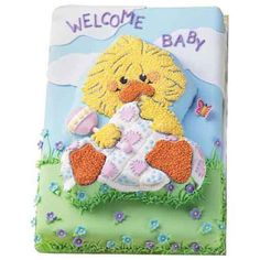 A Witzy Welcome! Cake - Give a baby a Witzy Welcome with this Witzy cake. A fresh take on a baby shower cake, a Witzy Welcome is decorated in a color scheme that is perfect for a baby boy or girl.