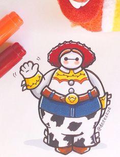 Baymax (Big Hero as Jessie from Toy Story by Deeeskye Bmax Disney, Kawaii Disney, Disney Cups, Disney Fan Art, Cute Disney, Disney Princess Paintings, Disney Paintings, Mickey Mouse Wallpaper, Disney Wallpaper