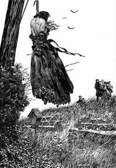 Donna impiccata con mani legate a un albero su un ciglio scosceso