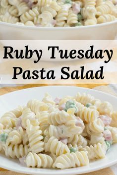 Copycat Recipe for Ruby Tuesday Ranch Pasta Salad with Ham and Peas. Easy to mak… Copycat Recipe for Ruby Tuesday Ranch Pasta Salad with Ham and Peas. Easy to make and a favorite wherever it's served! Mayo Pasta Salad Recipes, Easy Pasta Salad Recipe, Easy Salad Recipes, Crab Salad Recipe With Noodles, Ham And Cheese Pasta, Ham Pasta, Macaroni Salad With Ham And Cheese Recipe, Seafood Pasta, Pasta Food