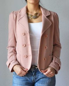 Stay warm and fashionable with the Christina Pink Double Breasted Jacket.  $45.95
