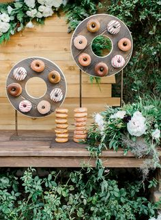 mini donuts of plywood on stands as donut displays and donuts on holders for a modern wedding or bridal shower Wedding Donuts, Donut Bar, Krispy Kreme Doughnut, Unique Desserts, Mini Donuts, Dessert Bars, Dessert Tables, Wedding Catering, Event Design