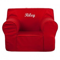 This comfy foam chair is a fun piece of furniture for children to enjoy for reading and relaxing. The lightweight design with carrying handle will allow this chair to be toted in several locations. The slipcover can be removed for cleaning or spot cleaned upon accidents. Embroider this chair with text to personalize your child's chair.