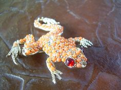 Old Vintage tree frog brooch with ruby red eyes Needs by andraliz, $49.00
