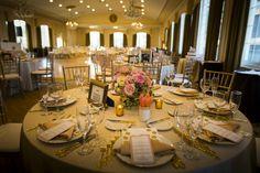 pink and gold centerpiece, gold urn centerpiece, boston wedding, boston summer wedding, omni parker wedding, downtown boston wedding