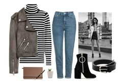 """""""Mom Jeans & Ankle Boots"""" by dreammints ❤ liked on Polyvore featuring Topshop, MANGO, Steffen Schraut, Off-White, Shinola, Montblanc, StreetStyle, casual, leatherjacket and stripeshirt"""