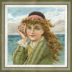 Victorian girl holds sea-shell up to ear to hear the sound of the sea