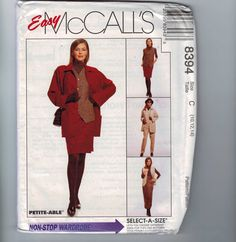 (c) 1990s: Sz F (cut 20 - missing pattern pieces); McCalls 8394 Misses unlined jacket, lined vest, and pull-on pants and skirt in two lengths. Loose-fitting unlined jacket or boxy lined vest has front buttons, patch pockets, and top-stitching. Pull-on skirt in 2 lengths or pants has side-seam pockets and elastic through fold-back waist casing.