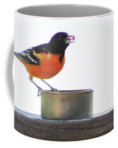 Baltimore Oriole Coffee Mug featuring the photograph Baltimore Oriole And Geraniums by Deb Schense