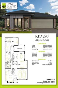 Long island homes 2018 floor plan of the rio 290 ls Dream House Plans, Modern House Plans, House Floor Plans, Home Builders Melbourne, New Home Builders, Bungalow House Design, Design Your Dream House, Shipping Container House Plans, House Blueprints