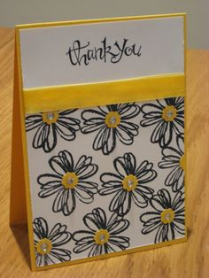 Stampin Up Flower Shop Thank You card in Staz on black and daffodil delight. http://craftycarolinecreates.blogspot.co.uk/