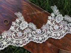 Champagne Beaded Scalloped Lace, Bridal Lace, Wedding Trim, Lace with Beads and Sequences, Wedding Gorgeous Lace on Etsy, $13.12 AUD