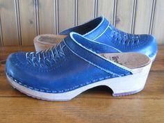 Vintage Swedish Trolls Clogs by Samhall Womens Sz 7 Braided Leather Blue | eBay