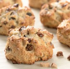Tender, buttery scones laced with chopped dried figs and toasted almonds.