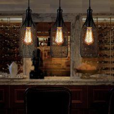 Edison Loft Style Wire Net Bottle Droplight Nordic Vintage Pendant Light Fixtures For Dining Room Hanging