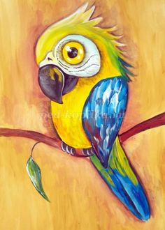 Drawing Practice, Silk Painting, Painting For Kids, Art Pictures, Painted Rocks, Parrot, Tropical, Birds, Watercolor