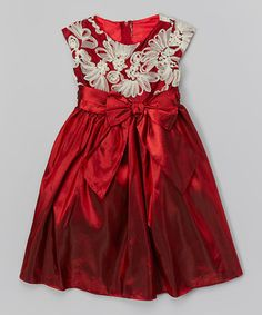 Red Fan Embroidered Dress - Toddler & Girls
