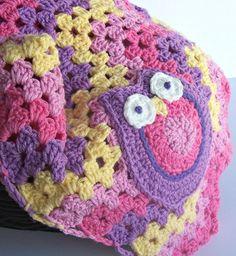 Crochet Baby Girl Owl Blanket - Pink Chevron Crochet Blanket / Granny Stripe Afghan - Pink Yellow Nursery Crochet Owl Granny Blanket