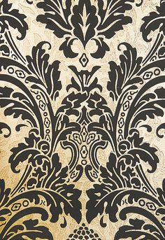 Blake Damask Wallpaper Metallic gold damask wallpaper with mottled pattern throughout and elegant matte black motif.