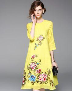 Silk Blend Yellow Embroidered Cheongsam Dress