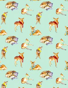 Another series of patterns with animals wearing scarves
