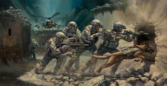 Into the Breach. The 75th Ranger Regiment by Stuart Brown showing a Ranger Fire Team and a Military Working Dog assaulting through the breach during a raid.