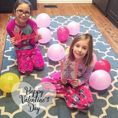 Happy Valentine's Day!   This is the girls' gift for their first love their daddy. Each balloon has a special love note in it. And they each made him a card.