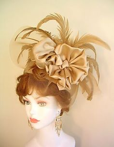 Beige Champagne Pillbox Ladies Church Wedding Hat