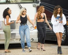 The squad: She was spotted with her Little Mix bandmates (l-r) Leigh-Anne Pinnock, Perrie Edwards and Jade Thirlwall Little Mix Outfits, Little Mix Jesy, Little Mix Girls, Little Mix Style, Little Mix Fashion, Jesy Nelson, Lady Gaga, Little Mix Updates, Litte Mix