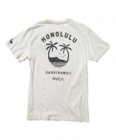 Men's RVCA Vintage Tee - Oahu Team; Color Options: Vintage White and Henna. $27.00 Available at islandsnow.com and at the Island Snow Hawaii Kailua Beach Center location.: