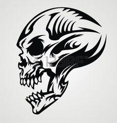 tatouage gothique: Conception de tatouage de crâne Illustration                                                                                                                                                     Plus