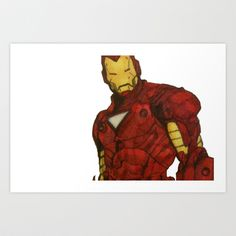 Iron Man Art Print by DeMoose - $20.00 This is drawn in ballpoint pen, then coloured in with pens and pencils.