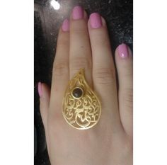 #Arabic #Calligraphy #statement ring, gorgeous touches and design.   http://www.ananasa.com/arabic-calligraphy-ring-4429.html