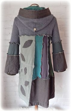 ** SCIURUS Squirrel Elvish Leaf Folk Jumper Dress with a Snood Hood and decorative Buttons ** ReCyCleD UpCyCleD Wearable Art I was once a