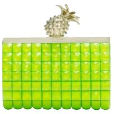 Pre-owned Kate Spade Lella Pineapple Green Clutch ($329) ❤ liked on Polyvore featuring bags, handbags, clutches, green, kate spade handbag, chain handbags, green purse, kate spade and preowned handbags