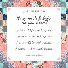 Keep track of how many yards of fabric you'll need to create your quilt squares. # Squares per Yard History Of Quilting, Quilting 101, Quilting For Beginners, Quilting Tutorials, Quilting Projects, Quilting Designs, Beginner Quilting, Sewing Projects, Beginner Quilt Patterns