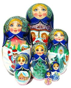 """GreatRussianGifts.com - Russian Nesting Doll """"Santa's Visit"""" 7-Piece Set, $169.95 (http://www.greatrussiangifts.com/russian-nesting-doll-santas-visit-7-piece-set/)"""