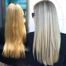 Lindsay Racca (@Hairbylindsayracca) of Vivid Studio at Sola Salons, Baton Rouge, Louisiana, says it took three hours to transform her natural level 8 strawberry blonde client to a sunkissed ashy blonde. Here she shares the HOW TO: STEP 1: Apply OYA Demi 10A with blue additive to the hair for 20 minutes to tone out the yellow/gold/orange. Dry completely. STEP 2: Highlight usingSunlights with 20 volume. Cover with plastic wrap and process for 30 minutes.