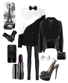 """Black Tie Affair"" by kotnourka ❤ liked on Polyvore featuring Haider Ackermann, PS Paul Smith, Forever 21, Christian Louboutin, Casetify, Lancôme, Moschino, Mint Velvet and Laura Ashley"